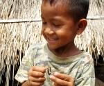 A boy happily pulling apart a cicada