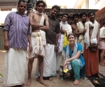 Claire with the young Brahmins once they had blessed the Pongala