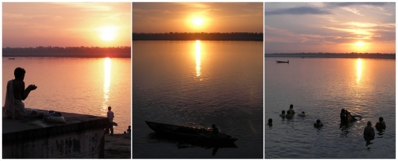 Triptych: Reflection at sunrise