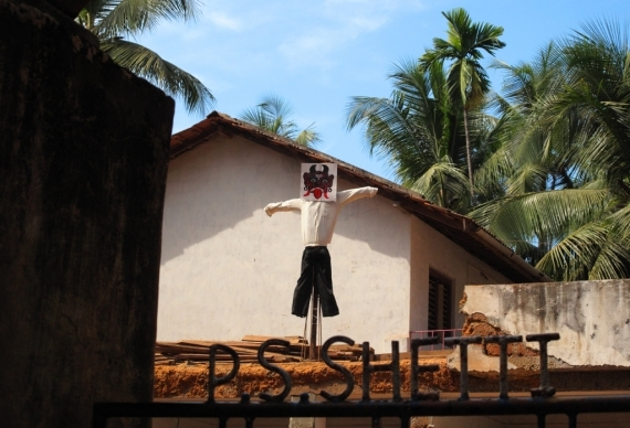 A scarecrow at the home of R.S. Shetty