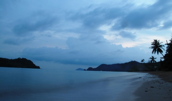 The blue light of dawn on Koh Mak's southern beach