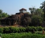 Farmland and a temple near the beach