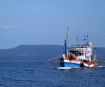 A fishing boat and blue
