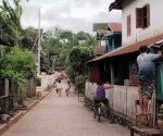 Home repairs in a Luang Parabang lane