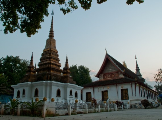 Dusk at Wat That Luang in Luang Prabang
