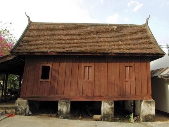 A timber dorm for novice monks raised up on blocks