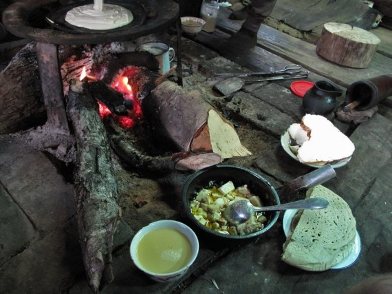 A Tibetan lunch: millet bread, unfermented cheese and mzo butter tea