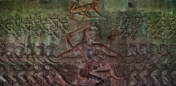 The Churning of the Sea of Milk in bas-relief at Angkor Wat