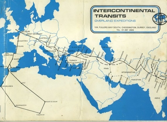 The route of Intercontinental Transits, which plied the old Hippie Trail