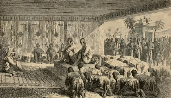 Caption in journal: Reception of M. Mouhot by the Kings of Laos